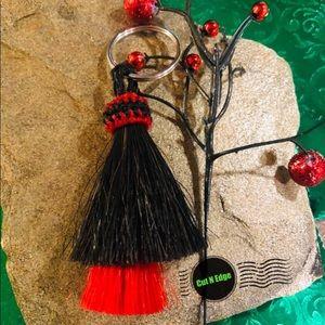 Accessories - Horse hair key chain red black